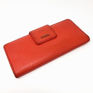 Fossil Genuine Leather Tab Clutch Wallet
